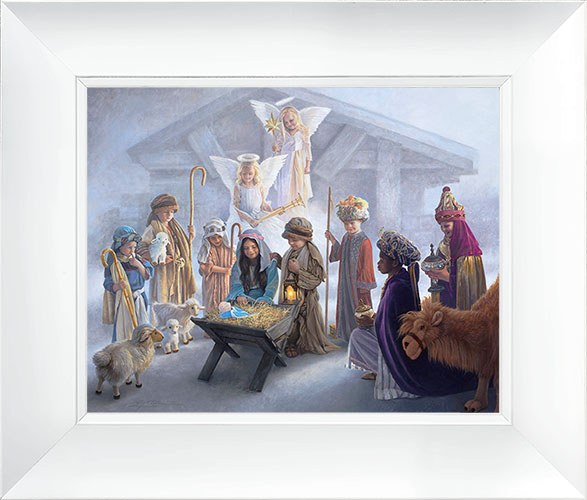 Away in a Manger – 23×27 Framed Art (White Frame) by Greg Olsen