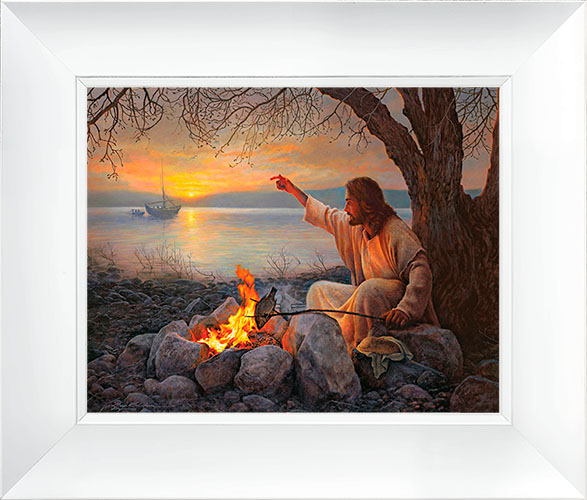 Cast Your Nets – 23×27 Framed Art (White Frame) by Greg Olsen