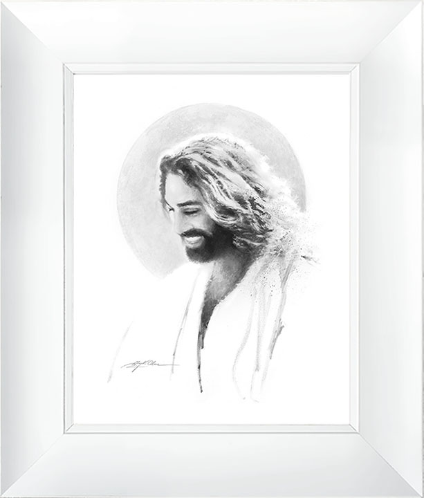 Joy of the Lord Vignette – 23×27 Framed Art (White Frame) by Greg Olsen