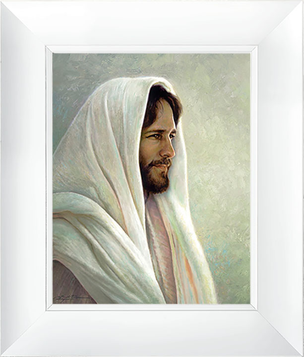 Lamb of God – 23×27 Framed Art (White Frame) by Greg Olsen