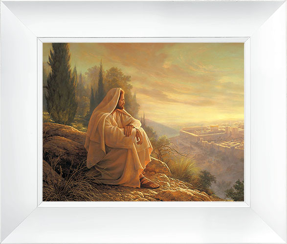 O Jerusalem – 21×26 Framed Art (White Frame) by Greg Olsen